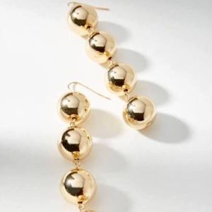 Anthro Gold Ball Drop Earrings, New. Holiday Time!